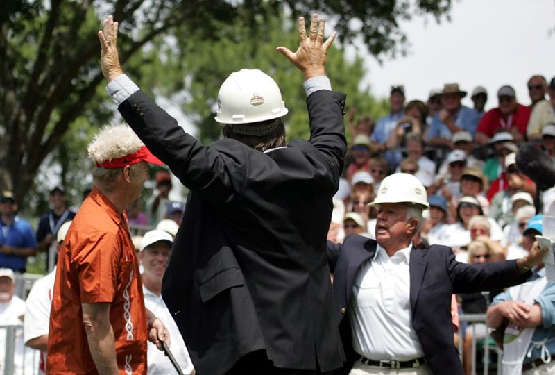 LUTZ, FL - APRIL 18:  Actor Bill Murray (L)  prepares to tee off, as the starters wear hard hats, on the first during the second round of the Outback Steakhouse Pro-Am at TPC Tampa Bay on April 18, 2009  in Lutz, Florida.  (Photo by Marc Serota/Getty Images)