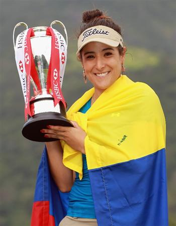 RIO DE JANEIRO, BRAZIL - MAY 29:  Mariajo Uribe of Colombia poses with the trophy after winning the HSBC LPGA Brazil Cup at the Itanhanga Golf Club on May 29, 2011 in Rio de Janeiro, Brazil.  (Photo by Scott Halleran/Getty Images)