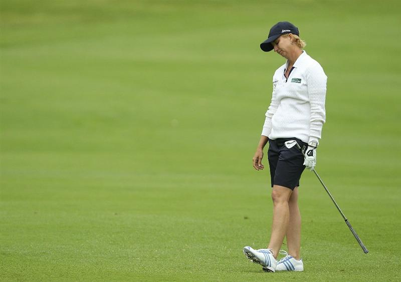 MELBOURNE, AUSTRALIA - FEBRUARY 05:  Karrie Webb of Australia reacts after a shot during day three of the Women's Australian Open at The Commonwealth Golf Club on February 5, 2011 in Melbourne, Australia.  (Photo by Lucas Dawson/Getty Images)