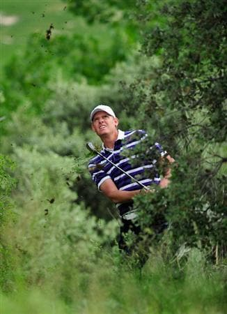 MADRID, SPAIN - MAY 28: Maarten Lafeber of The Netherlands plays his approach shot on the 15th hole during the second round of the Madrid Masters at Real Sociedad Hipica Espanola Club De Campo on May 28, 2010 in Madrid, Spain.  (Photo by Stuart Franklin/Getty Images)