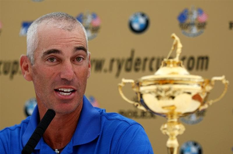 NEWPORT, WALES - JUNE 03:  US Captain Corey Pavin talks to the media during a press conference for the 2010 Ryder Cup at the Celtic Manor Wales Open on the 2010 Course at The Celtic Manor Resort on June 3, 2009 in Newport, Wales.  (Photo by Richard Heathcote/Getty Images)