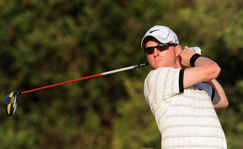 VILAMOURA, PORTUGAL - OCTOBER 16:  Simon Dyson of England plays his tee shot on the 12th hole during the second round of the Portugal Masters at the Oceanico Victoria Golf Course on October 16, 2009 in Vilamoura, Portugal.  (Photo by Stuart Franklin/Getty Images)