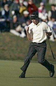 Arron Oberholser react to a missed birdie on 17 during the third round of THE PLAYERS Championship held at the TPC Stadium Course in Ponte Vedra Beach, Florida on March 25, 2006.Photo by Chris Condon/PGA TOUR/WireImage.com