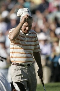 Ben Crenshaw tips his cap to the gallery as he walks up the 18th fairway during rhe 2007 PGA Champion's TOUR Toshiba Classic at Newport Beach Country Club in Newport Beach, California on March 10, 2007. Champions Tour - 2007 Toshiba Classic - Final RoundPhoto by Steve Grayson/WireImage.com