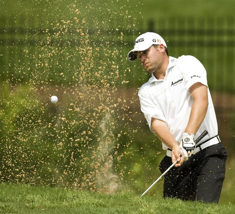 RALEIGH, NC - MAY 29: Alex Prugh hits from the sand on the 14th hole during the second round of the Rex Hospital Open Nationwide Tour golf tournament at the TPC Wakefield Plantation on May 29, 2009 in Raleigh, North Carolina. (Photo by Chris Keane/Getty Images)