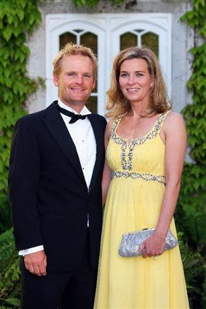 WENTWORTH, ENGLAND - MAY 19:  Soren Kjeldsen of Denmark and wife Charlotte pose at The European Tour Dinner during the BMW PGA Championship at Wentworth on May 19, 2009 in Virginia Water, England.  (Photo by Andrew Redington/Getty Images)
