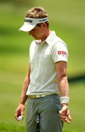 SUN CITY, SOUTH AFRICA - DECEMBER 03:  Luke Donald of England stretches his left wrist during the pro-am for the Nedbank Golf Challenge at the Gary Player Country Club on December 3, 2008 in Sun City, South Africa. This is Luke's first event back after surgery to fix the left wrist he injured at the US Open in June.  (Photo by Richard Heathcote/Getty Images)