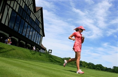 EDINA, MN - JUNE 29:  Paula Creamer trots off the first tee during the final round of the 2008 U.S. Women's Open at Interlachen Country Club June 29, 2008 in Edina, Minnesota.  (Photo by Travis Lindquist/Getty Images)