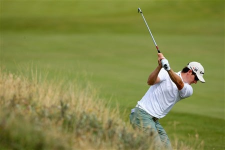 SOUTHPORT, UNITED KINGDOM - JULY 15:  Justin Rose of England hits an approach during the second practice round of the 137th Open Championship on July 15, 2008 at Royal Birkdale Golf Club, Southport, England.  (Photo by Stuart Franklin/Getty Images)