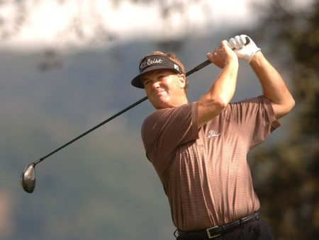 Peter Jacobsen hits from the 11th tee during the third round of the Champions Tour 2005 Charles Schwab Cup Championship at Sonoma Golf Club in Sonoma, California October 29, 2005.Photo by Steve Grayson/WireImage.com