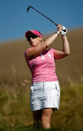 DANVILLE, CA - SEPTEMBER 24:  Morgan Pressel tees off on the 16th hole during the first round of the CVS/pharmacy LPGA Challenge at Blackhawk Country Club on September 24, 2009 in Danville, California.  (Photo by Jonathan Ferrey/Getty Images)