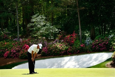 AUGUSTA, GA - APRIL 11:  Phil Mickelson looks over the 13th green during the second round of the 2008 Masters Tournament at Augusta National Golf Club on April 11, 2008 in Augusta, Georgia.  (Photo by Jamie Squire/Getty Images)