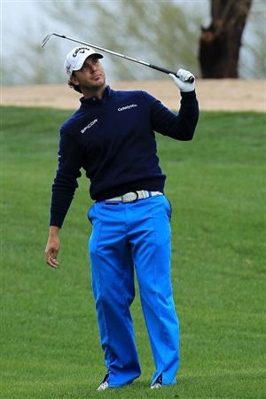 SCOTTSDALE, AZ - FEBRUARY 28: Scott Piercy reacts to his second shot on the second hole during the final round of the Waste Management Phoenix Open at TPC Scottsdale on February 28, 2010 in Scottsdale, Arizona.  (Photo by Chris McGrath/Getty Images)