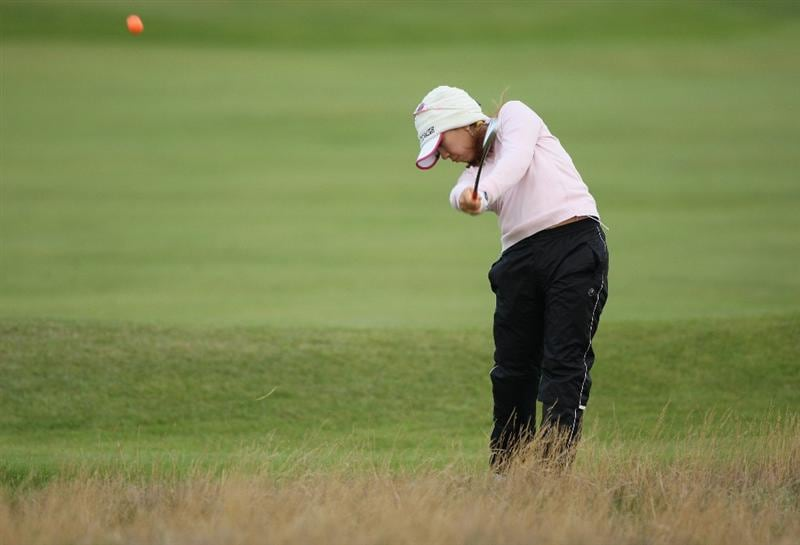 LYTHAM ST ANNES, ENGLAND - JULY 30:  Mika Miyazato of Japan hits her approach on the 2nd hole during the first round of the 2009 Ricoh Women's British Open Championship held at Royal Lytham St Annes Golf Club, on July 30, 2009 in  Lytham St Annes, England.  (Photo by Warren Little/Getty Images)