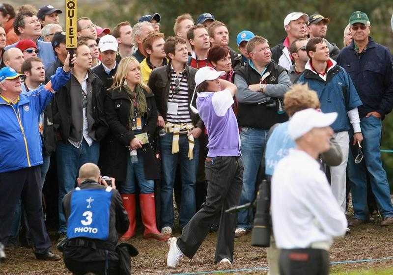 NEWPORT, WALES - OCTOBER 02:  Rickie Fowler of the USA hits a shot on the fourth hole during the rescheduled Afternoon Foursome Matches during the 2010 Ryder Cup at the Celtic Manor Resort on October 2, 2010 in Newport, Wales.  (Photo by Andrew Redington/Getty Images)