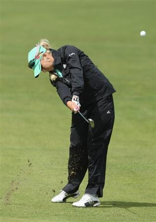 LYTHAM ST ANNES, UNITED KINGDOM - JULY 30:  Natalie Gulbis of USA hits her second shot on the 2nd hole during the first round of the 2009 Ricoh Women's British Open Championship held at Royal Lytham St Annes Golf Club, on July 30, 2009 in  Lytham St Annes, England. (Photo by David Cannon/Getty Images)