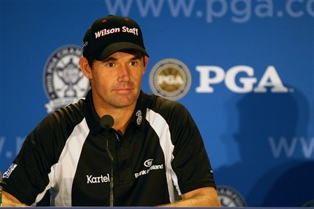 BLOOMFIELD HILLS, MI - AUGUST 05:  Padraig Harrington of Ireland speaks to the media before playing his practice round prior to the 90th PGA Championship at Oakland Hills Country Club on August 5, 2008 in Bloomfield Township, Michigan.  (Photo by David Cannon/Getty Images)