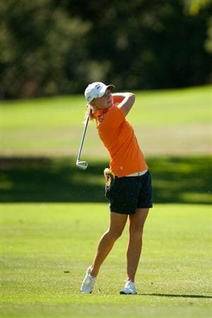 DANVILLE, CA - OCTOBER 15: Stacy Lewis follows through on an approach shot during the second round of the CVS/Pharmacy LPGA Challenge at Blackhawk Country Club on October 15, 2010 in Danville, California. (Photo by Darren Carroll/Getty Images)