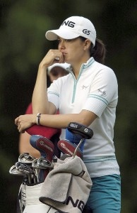 Stacy Prammanasudh waits on the tee during the second round of the LPGA Florida's Natural Charity Championship on Friday, April 21, 2006, at Eagle's Landing Country Club in Stockbridge, Georgia.Photo by Grant Halverson/WireImage.com