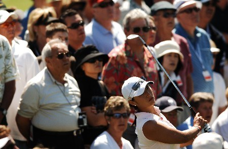 Grace Park hits from the rough to the 17th green during the second round of the LPGA's 2005 Kraft Nabisco Championship, at Mission Hills Country Club in Rancho Mirage, California March 25, 2005.