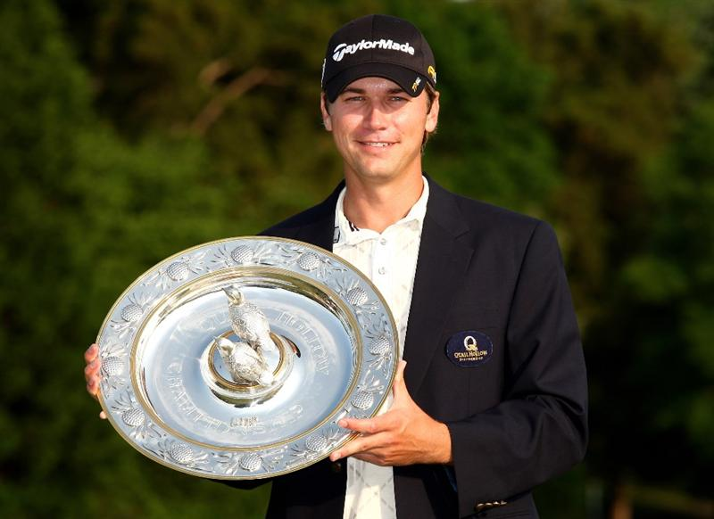 CHARLOTTE, NC - MAY 03:  Sean O'Hair of the USA poses with the trophy after his 1 shot victory during the final round of the Quail Hollow Championship at Quail Hollow Golf Club on May 3, 2009 in Charlotte, North Carolina.  (Photo by Richard Heathcote/Getty Images)