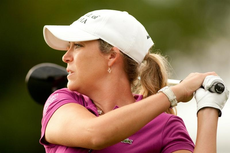 SPRINGFIELD, IL - JUNE 13: Cristie Kerr follows through on a tee shot during continuation of the third round of the LPGA State Farm Classic at Panther Creek Country Club on June 13, 2010 in Springfield, Illinois. (Photo by Darren Carroll/Getty Images)