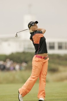 Nicole Perrot watches her approach shot during the second round of the 2005 Weetabix Women's British Open at the Royal Birkdale Golf Club in Southport, Great Britain on July 29, 2005.Photo by Pete Fontaine/WireImage.com