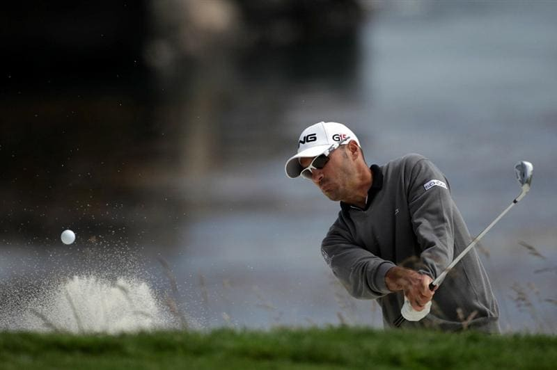 PEBBLE BEACH, CA - JUNE 20:  Gregory Havret of France plays a bunker shot on the eighth hole during the final round of the 110th U.S. Open at Pebble Beach Golf Links on June 20, 2010 in Pebble Beach, California.  (Photo by Andrew Redington/Getty Images)