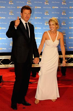 LOUISVILLE, KY - SEPTEMBER 17:  Nick Faldo of England, European Ryder Cup team captain, and Valerie Faldo arrive on the red carpet for the Ryder Cup Gala dinner prior to the start of the 2008 Ryder Cup September 17, 2008 in Louisville, Kentucky.  (Photo by Sam Greenwood/Getty Images)