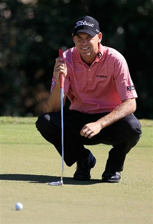 MADISON, MS - OCTOBER 01:  Bill Haas lines up a putt during the second round of the Viking Classic held at Annandale Golf Club on October 1, 2010 in Madison, Mississippi.  (Photo by Michael Cohen/Getty Images)