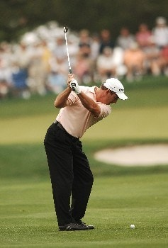 Peter Lonard hits his second shot from the first fairway of the EDS Byrin Nelson Clasic at TPC at Los Colinas at The Four Seasons in Los Colinas, Texas May 12, 2005.Photo by Steve Grayson/WireImage.com