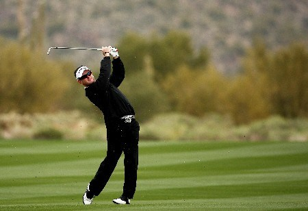 MARANA, AZ - FEBRUARY 20:  Rory Sabbatini of South Africa hits his second shot on the second hole during the first round matches of the WGC-Accenture Match Play Championship at The Gallery at Dove Mountain on February 20, 2008 in Marana, Arizona.  (Photo by Travis Lindquist/Getty Images)