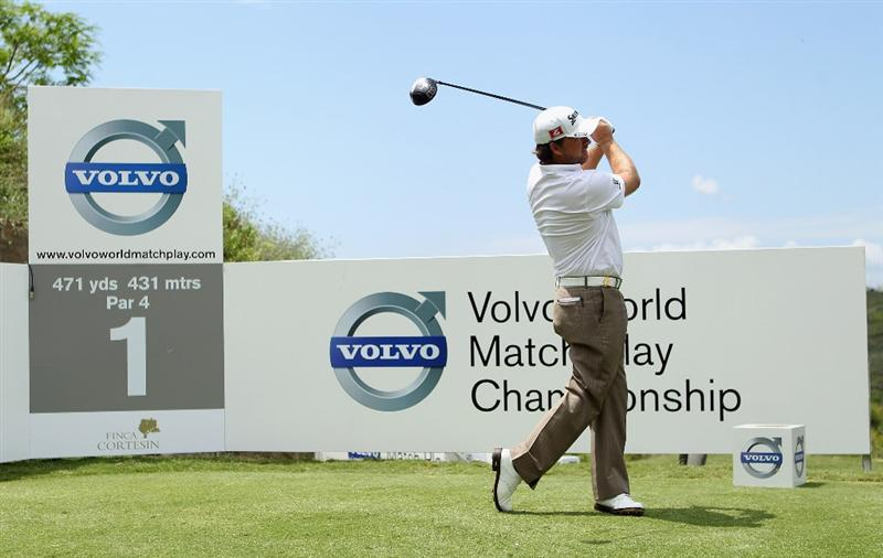 CASARES, SPAIN - MAY 20:  Graeme McDowell of Northern Ireland tees off on the first hole during the group stages of the Volvo World Match Play Championships at Finca Cortesin on May 20, 2011 in Casares, Spain.  (Photo by Warren Little/Getty Images)