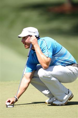 AUGUSTA, GA - APRIL 09:  Ricky Barnes lines up a putt on the seventh hole during the second round of the 2010 Masters Tournament at Augusta National Golf Club on April 9, 2010 in Augusta, Georgia.  (Photo by Jamie Squire/Getty Images)