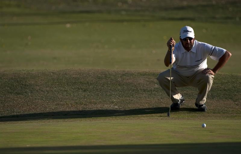 SAN JACINTO, CA - OCTOBER 04: Jerod Turner aims for a putt during the final round of the 2009 Soboba Classic at The Country Club at Soboba Springs on October 4, 2009 in San Jacinto, California.  (Photo by Robert Laberge/Getty Images)