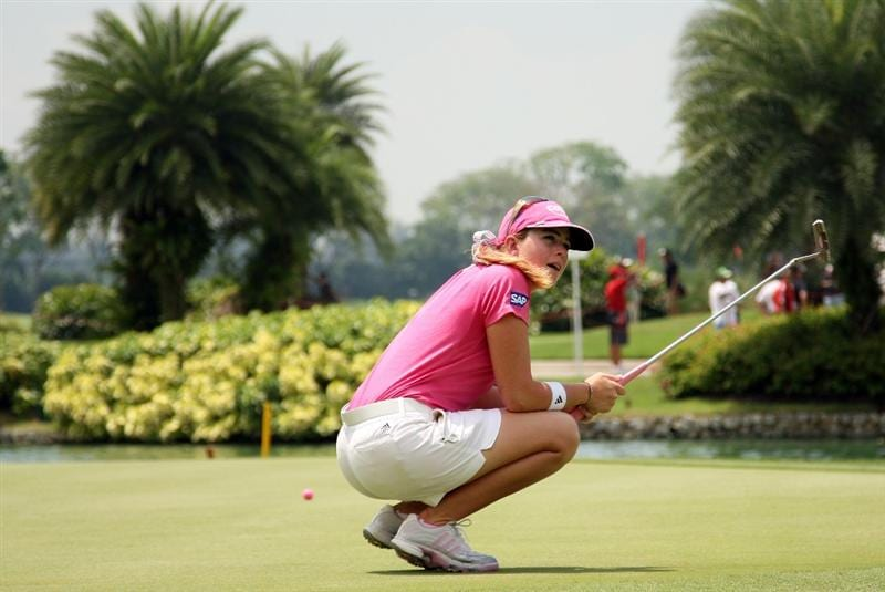 SINGAPORE - MARCH 08:  Paula Creamer of the USA after a missed putt on the 7th hole during the final round of HSBC Women's Champions at the Tanah Merah Country Club on March 8, 2009 in Singapore.  (Photo by Ross Kinnaird/Getty Images)
