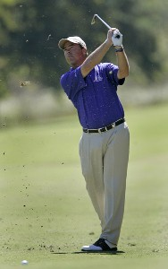 Olin Browne hits his approach shot on the 16th hole during the second round of the Southern Farm Bureau Classic at Annandale Golf Club in Madison, Mississippi, on September 29, 2006. Photo by Hunter Martin/WireImage.com