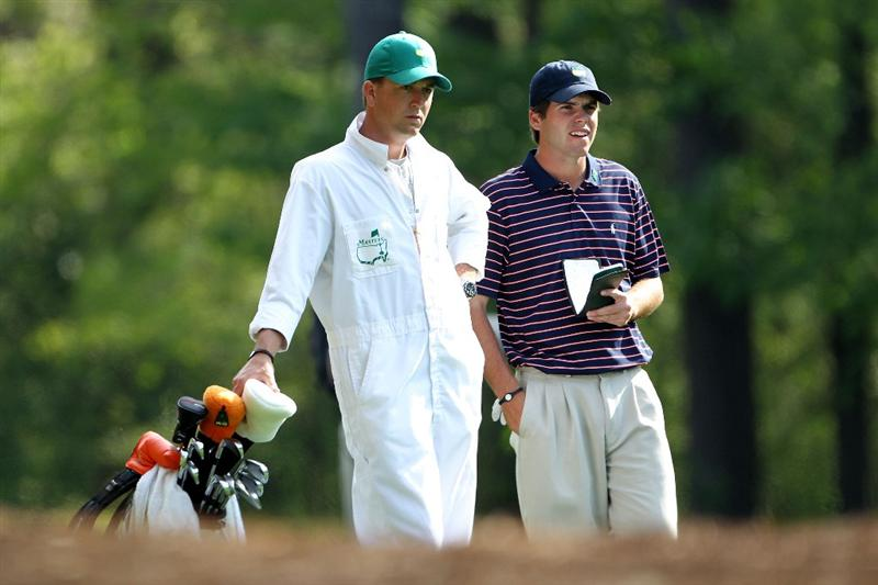 AUGUSTA, GA - APRIL 07:  Amateur Ben Martin (R) stands alongside caddie Robert Thompson during a practice round prior to the 2010 Masters Tournament at Augusta National Golf Club on April 7, 2010 in Augusta, Georgia.  (Photo by Jamie Squire/Getty Images)