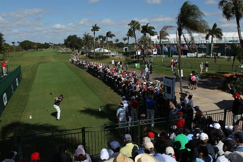 DORAL, FL - MARCH 13:  Anders Hansen of Denmark tees off on thr first hole during round three of the 2010 WGC-CA Championship at the TPC Blue Monster at Doral on March 13, 2010 in Doral, Florida.  (Photo by Scott Halleran/Getty Images)