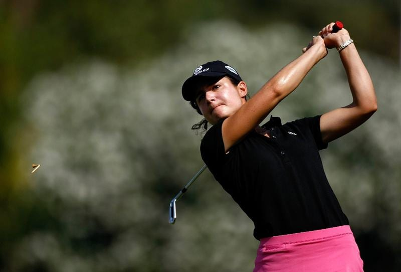 DANVILLE, CA - SEPTEMBER 27:  Lorena Ochoa of Mexico tees off on the 4th hole during the final round of the CVS/pharmacy LPGA Challenge at Blackhawk Country Club on September 27, 2009 in Danville, California.  (Photo by Jonathan Ferrey/Getty Images)