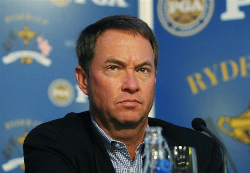 NEW YORK - SEPTEMBER 7:  Davis Love III assistant team captain of the 2010 USA Ryder Cup, attends a news conference to announce the four captain's picks to complete the team at the New York Stock Exchange on September 7, 2010 in New York City. (Photo by Jonathan Fickies/Getty Images)