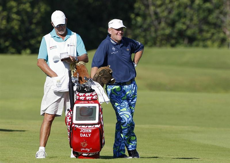 PLAYA DEL CARMEN, MEXICO - FEBRUARY 24:  John Daly stands by his golf bag during the first round of the Mayakoba Golf Classic at Riviera Maya-Cancun held at El Camaleon Golf Club on February 24, 2011 in Playa del Carmen, Mexico.  (Photo by Michael Cohen/Getty Images)