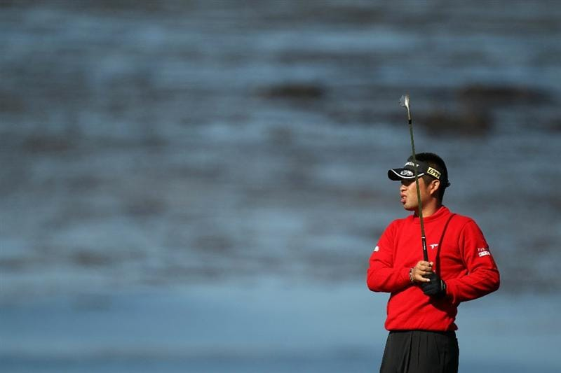 PEBBLE BEACH, CA - JUNE 17:  Yuta Ikeda of Japan  watches his approach shot on the fourth hole during the first round of the 110th U.S. Open at Pebble Beach Golf Links on June 17, 2010 in Pebble Beach, California.  (Photo by Ross Kinnaird/Getty Images)