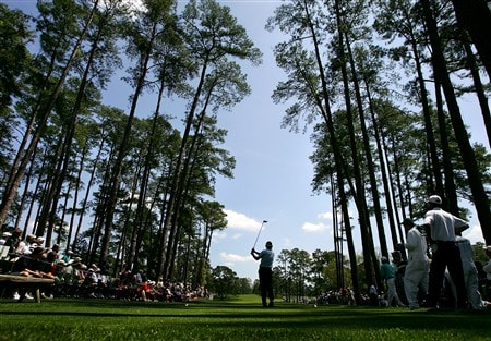 AUGUSTA, GA - APRIL 11:  Brandt Snedeker hits his tee shot on the 17th hole during the second round of the 2008 Masters Tournament at Augusta National Golf Club on April 11, 2008 in Augusta, Georgia.  (Photo by Harry How/Getty Images)