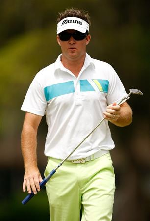 HILTON HEAD ISLAND, SC - APRIL 19:  Brian Gay reacts to making a putt for eagle during the final round of the Verizon Heritage at Harbour Town Golf Links on April 19, 2009 in Hilton Head Island, South Carolina.  (Photo by Streeter Lecka/Getty Images)