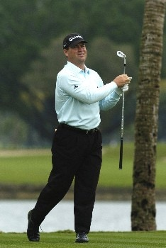 Jay Williamson  tees off   during second-round competition March 4, 2005  at the  2005 Ford Championship at Doral in Miami.