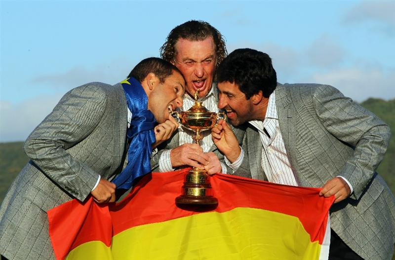 NEWPORT, WALES - OCTOBER 04:  (L-R) European Team members Sergio Garcia, Miguel Angel Jimenez and Jose Maria Olazabal pose with the Ryder Cup following Europe's 14.5 to 13.5 victory over the USA at the 2010 Ryder Cup at the Celtic Manor Resort on October 4, 2010 in Newport, Wales.  (Photo by Jamie Squire/Getty Images)