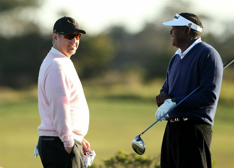 PEBBLE BEACH, CA - FEBRUARY 11:  Vijay Singh of Fiji and David Duval wait to tee off on the 10th hole during the second round of the AT&T Pebble Beach National Pro-Am at Monterey Peninsula Country Club on February 11, 2011 in Pebble Beach, California.  (Photo by Ezra Shaw/Getty Images)