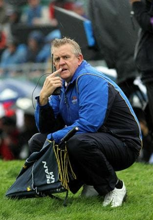 NEWPORT, WALES - OCTOBER 01:  Europe Team Captain Colin Montgomerie waits on the first hole during the Morning Fourball Matches during the 2010 Ryder Cup at the Celtic Manor Resort on October 1, 2010 in Newport, Wales.  (Photo by Jamie Squire/Getty Images)
