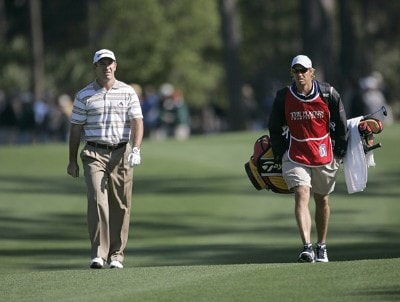 Peter Lonard walks up the second fairway with his caddie during the third round of THE PLAYERS Championship held at the TPC Stadium Course in Ponte Vedra Beach, Florida on March 25, 2006.Photo by Chris Condon/PGA TOUR/WireImage.com